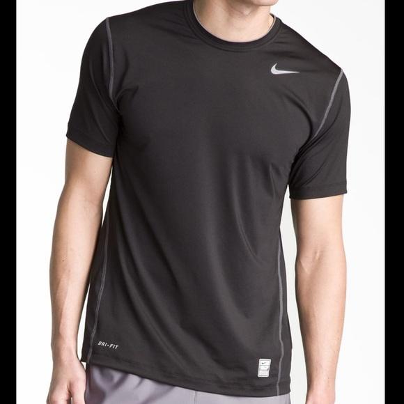 Nike Mens Dri-Fit Pro Combat Fitted Crewneck Shirt NWT Black w// Nike blue logo